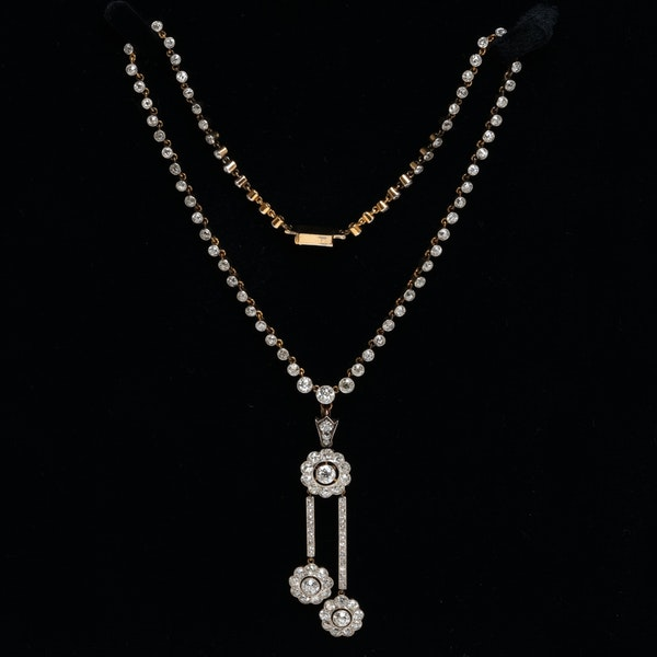 Edwardian diamond riviera necklace  with detachable diamond negligee pendant - image 1