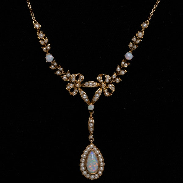 Murrle Bennet Edwardian opal and pearl necklace - image 1