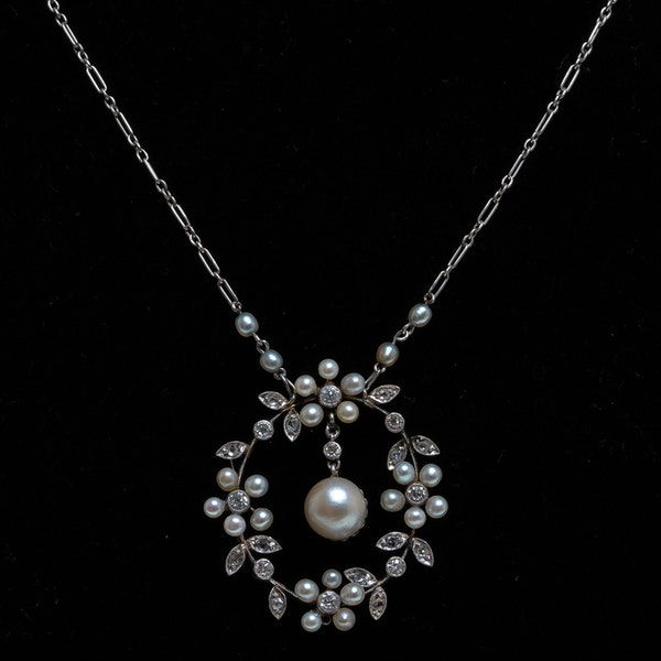Pearl and diamond Edwardian floral pendant - image 1
