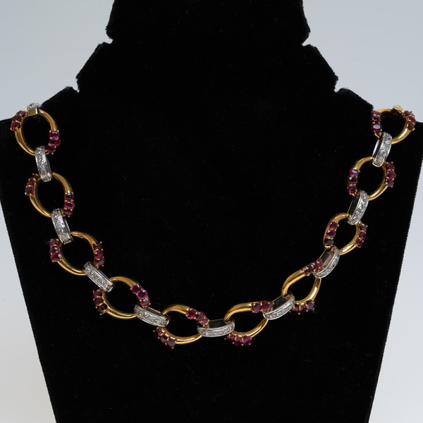 Diamond and ruby full size heavy necklace in 2 colour gold - image 1