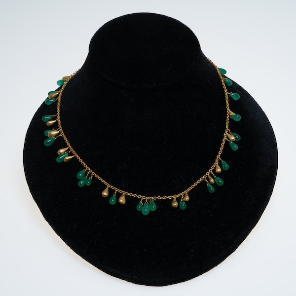 Emerald drops and gold beads full necklace in 18 ct gold - image 1