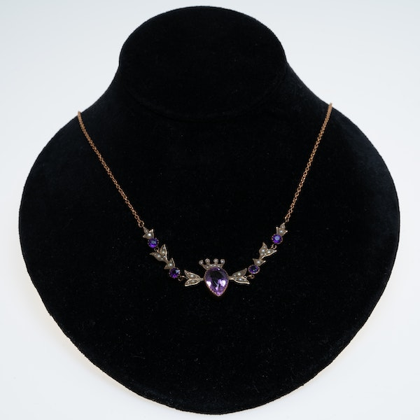 Victorian pearl and amethyst necklace with amethyst and pearl coronet centrepiece - image 1