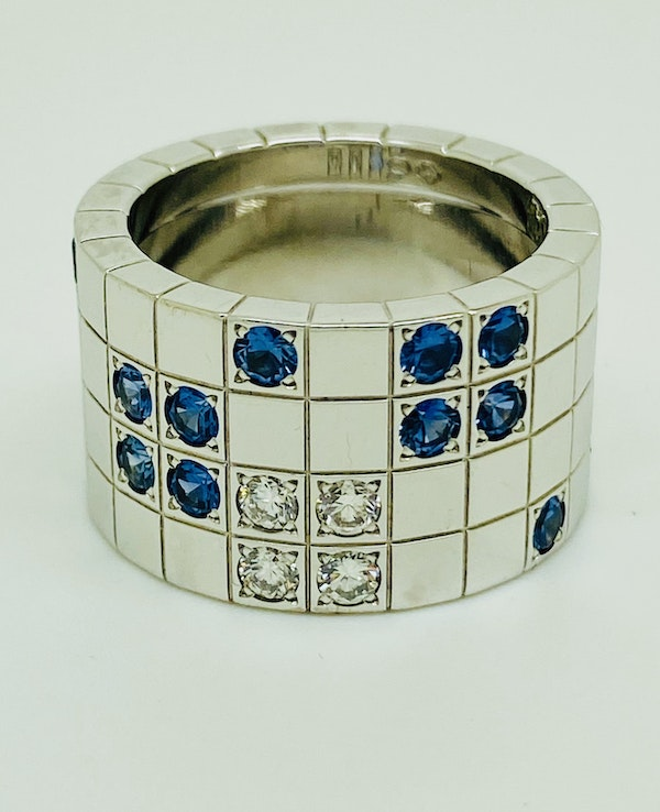 Cartier Lanieres 0.40ct Diamond and 1.10ct Natural Blue Sapphire Ring - image 6
