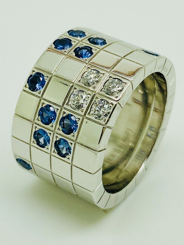 Cartier Lanieres 0.40ct Diamond and 1.10ct Natural Blue Sapphire Ring - image 7