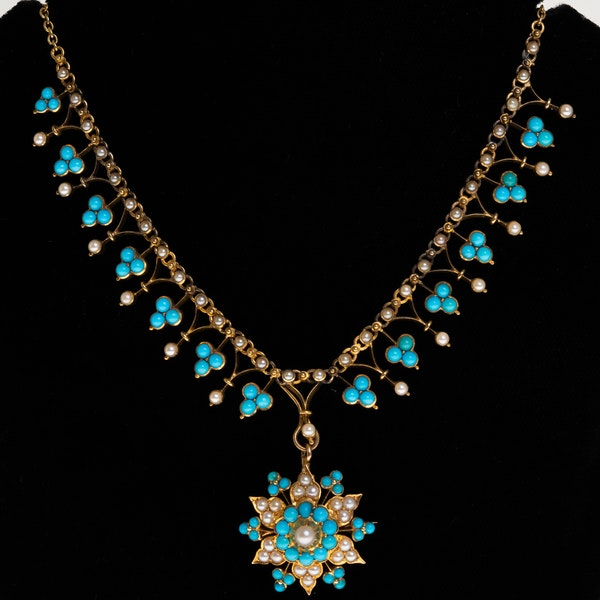 Victorian turquoise and pearl full necklace with detachable pendant/brooch - image 1