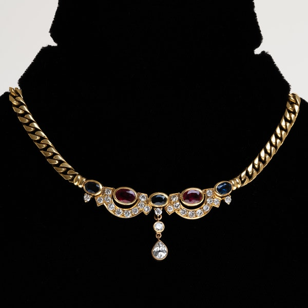 Retro diamond, ruby and sapphire necklace set in 18/21 ct heavy gold - image 1