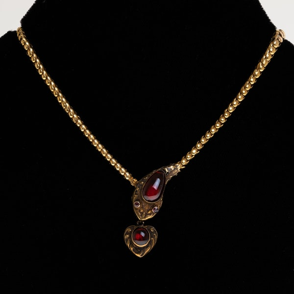 Victorian snake necklace  with garnets and amethysts holding a garnet heart set in 15 ct yellow gold - image 1