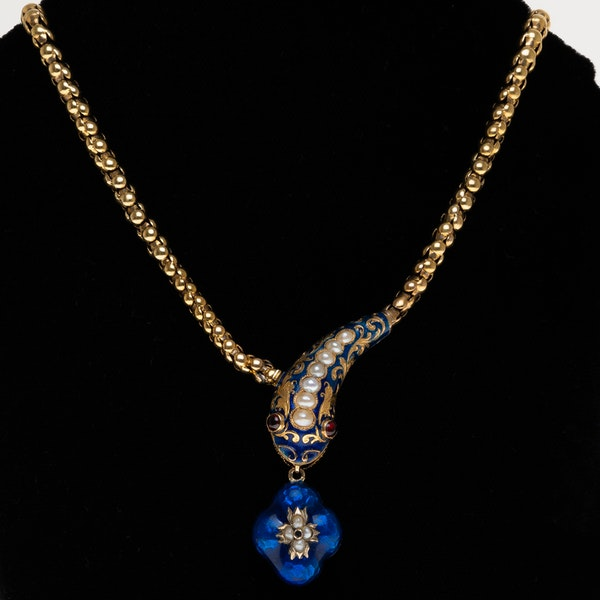Victorian snake necklace with blue enamel garnet eyes and pearls - image 1