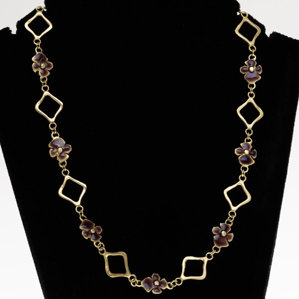 Retro gold and enamel panels fancy necklace - image 1