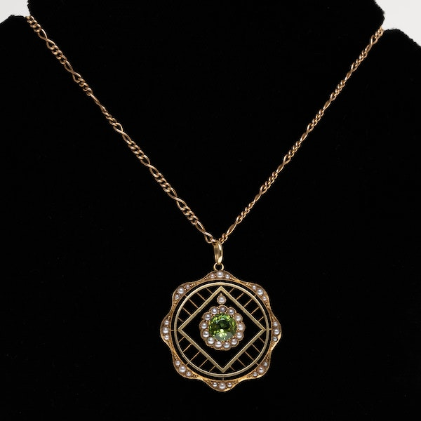 Edwardian peridot and pearl lattice design pendant/necklet. - image 1