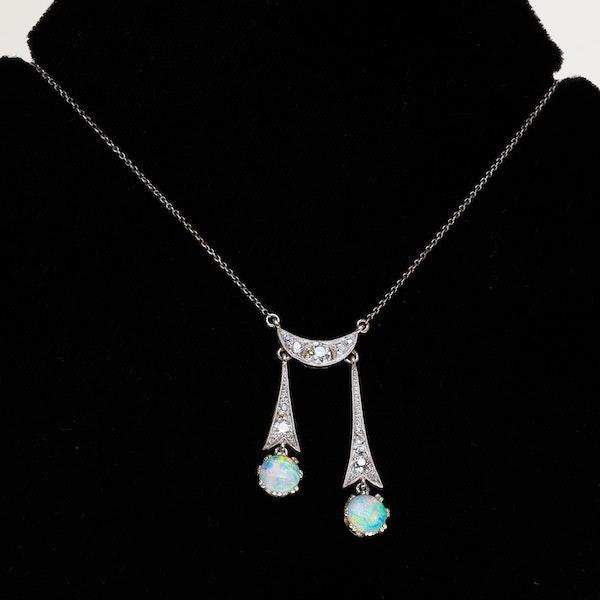 Art Deco diamond and opal negligee pendant - image 1