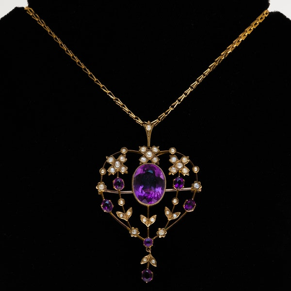 Victorian amethyst and pearl Art Nouveau pendant - image 1