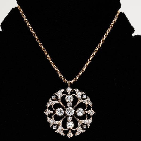 Victorian circular diamond pendant/necklace - image 1