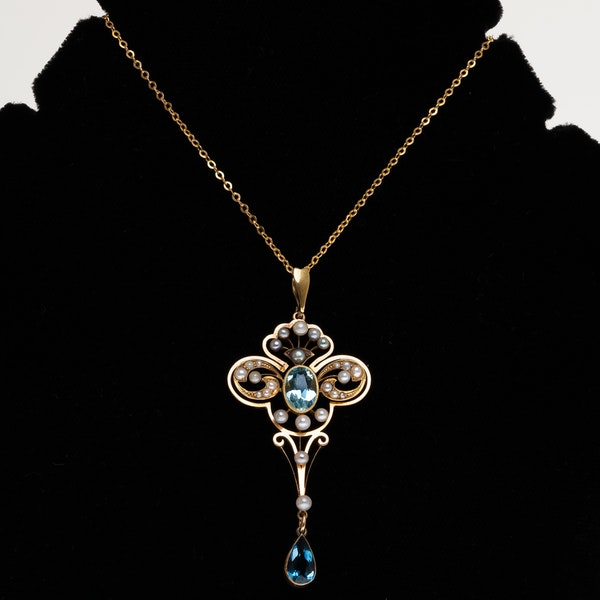 Art Nouveau aquamarine and pearl pendant - image 1