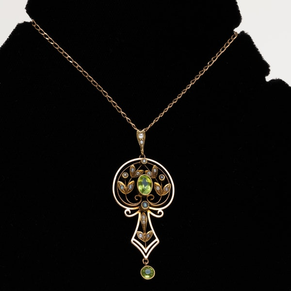 Art Nouveau peridot and pearl articulated pendant - image 1