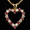 Ruby and diamond heart shaped gold pendant on gold chain - image 1