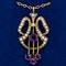 Art Nouveau amethyst and pearl gold pendant on gold chain - image 1