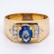 Sapphire and diamond signet type 18 ct gold ring - image 1