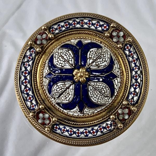 Rome micro mosaic gold brooch - image 1