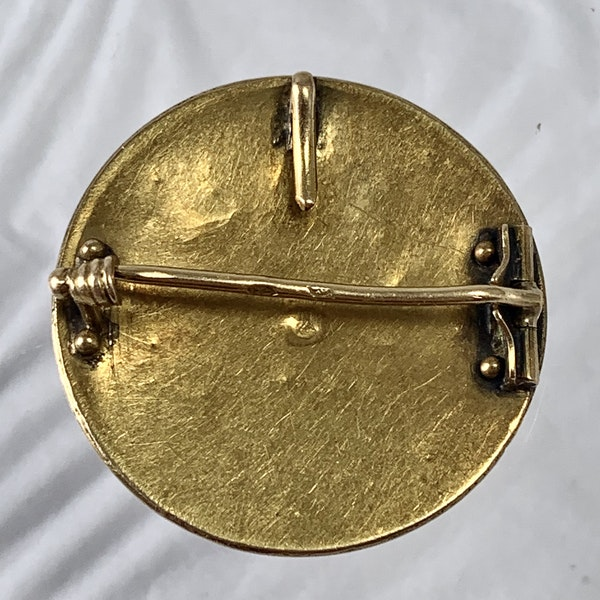 Rome micro mosaic gold brooch - image 2