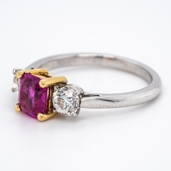 3 stone ruby and diamond ring - image 3