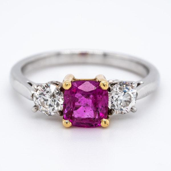 3 stone ruby and diamond ring - image 1