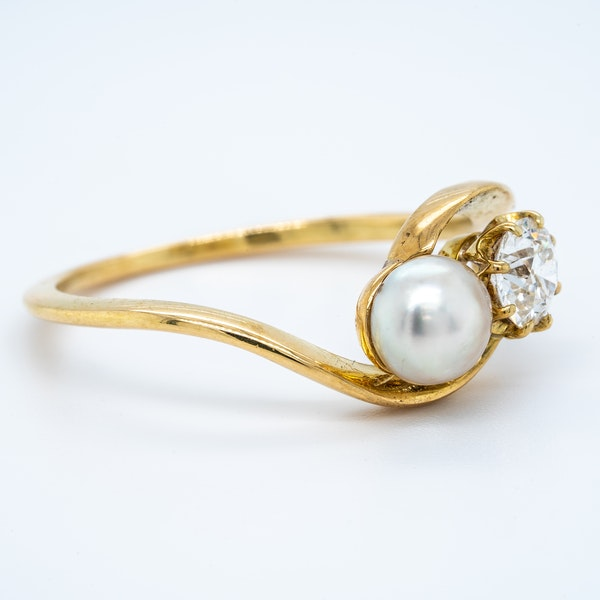 Antique natural pearl and diamond crossover ring - image 2