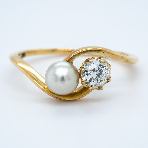 Antique natural pearl and diamond crossover ring - image 1