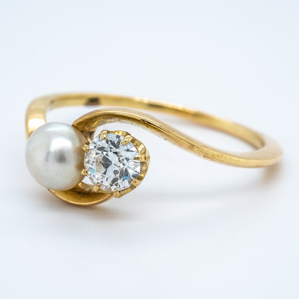 Antique natural pearl and diamond crossover ring - image 3