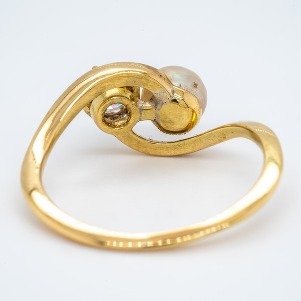 Antique natural pearl and diamond crossover ring - image 4
