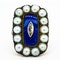 Victorian diamond, pearl and blue enamel large oval ring - image 1