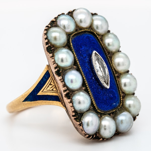 Victorian diamond, pearl and blue enamel large oval ring - image 2