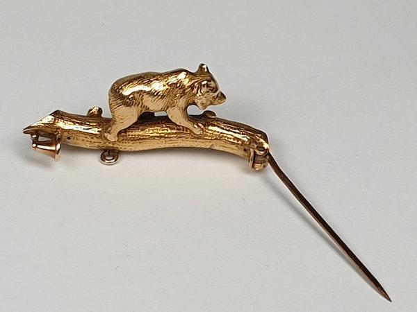 Antique Bear Cub Gold Brooch  DBGEMS - image 2