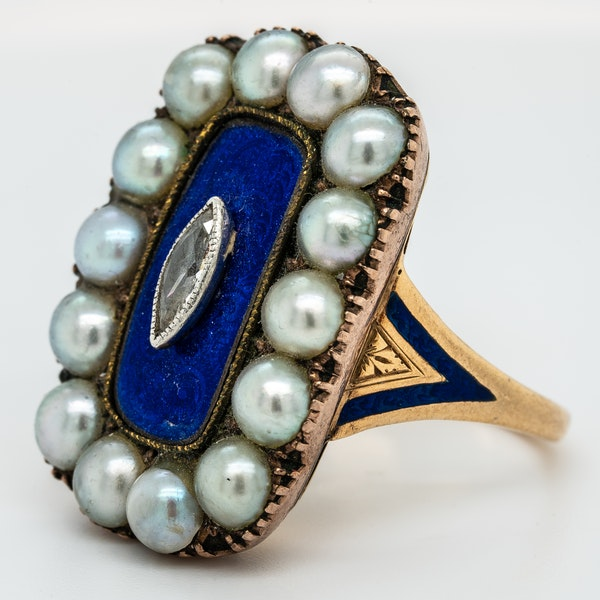 Victorian diamond, pearl and blue enamel large oval ring - image 3