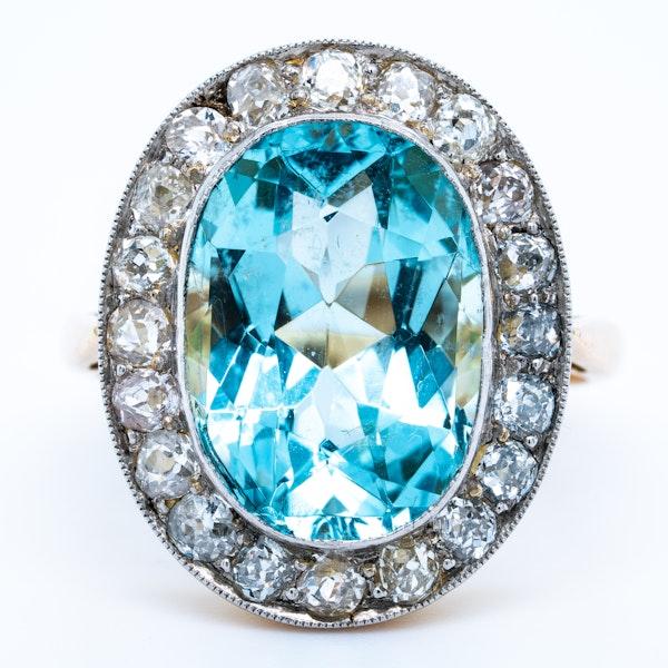 Aquamarine and diamond Edwardian cluster ring - image 1