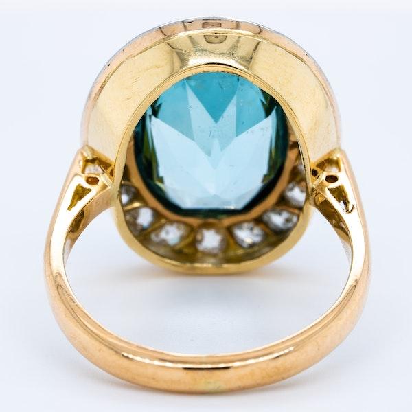 Aquamarine and diamond Edwardian cluster ring - image 4