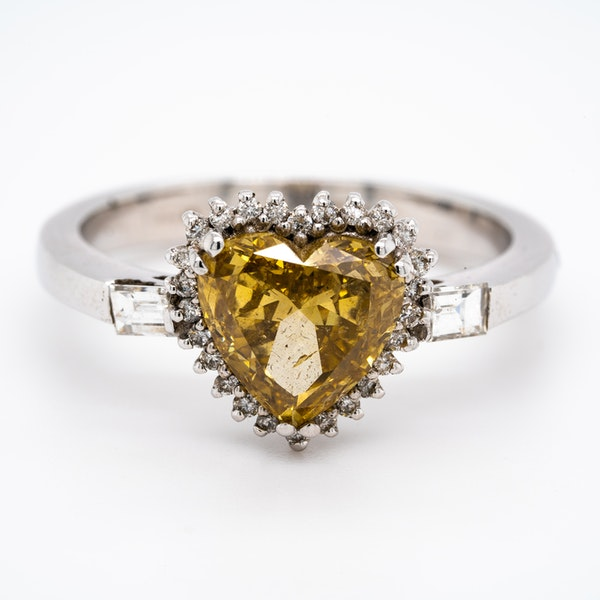 Natural fancy yellow coloured diamond heart ring with certificate - image 1