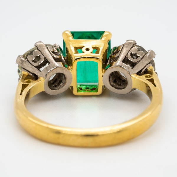Emerald and diamond 3 stone  ring - image 3