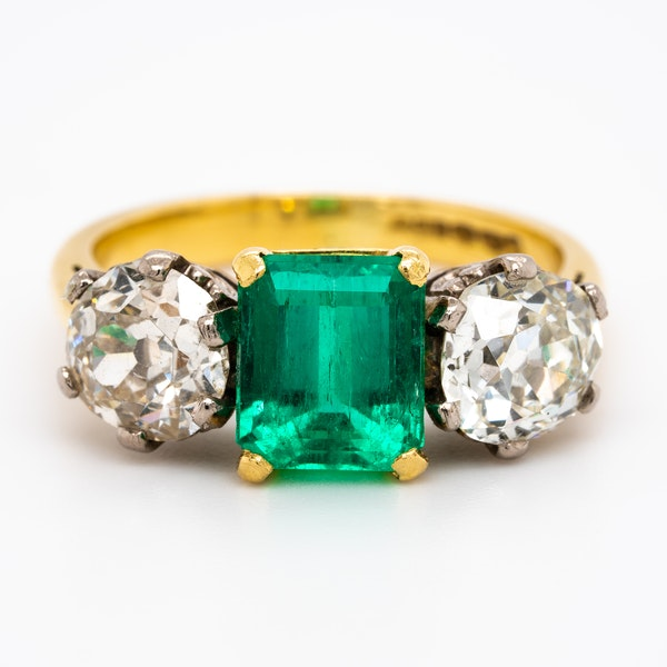 Emerald and diamond 3 stone  ring - image 1