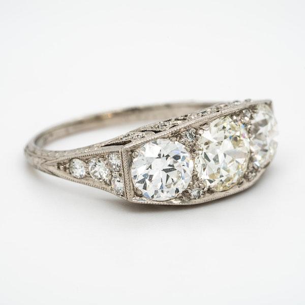 Platinum set Art Deco large 3 stone ring  with diamond studded mount - image 2
