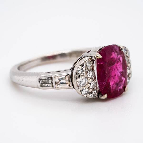 Burma ruby and diamond cluster ring with certificate - image 2