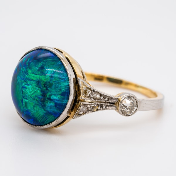 Black opal and diamond shoulders Victorian ring - image 3