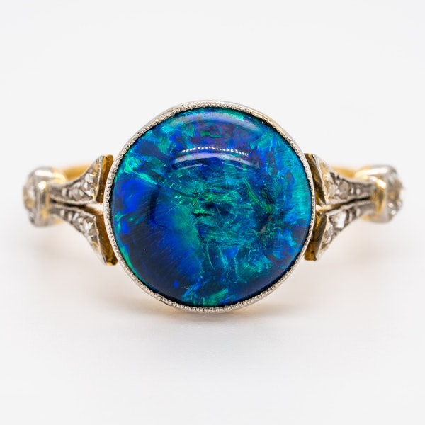 Black opal and diamond shoulders Victorian ring - image 1