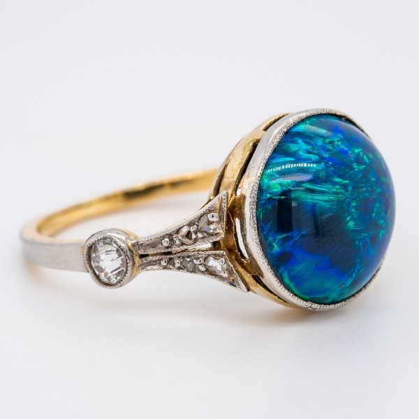 Black opal and diamond shoulders Victorian ring - image 2