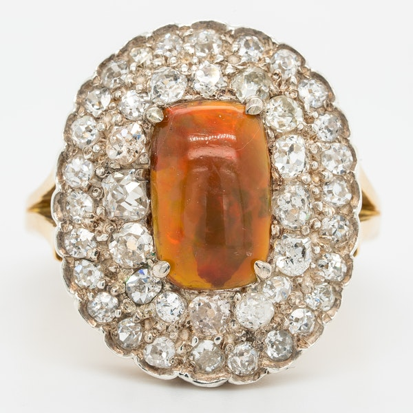 Fancy opal and diamond large antique ring - image 1
