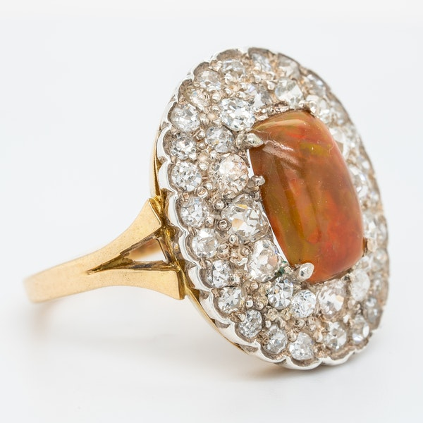 Fancy opal and diamond large antique ring - image 2