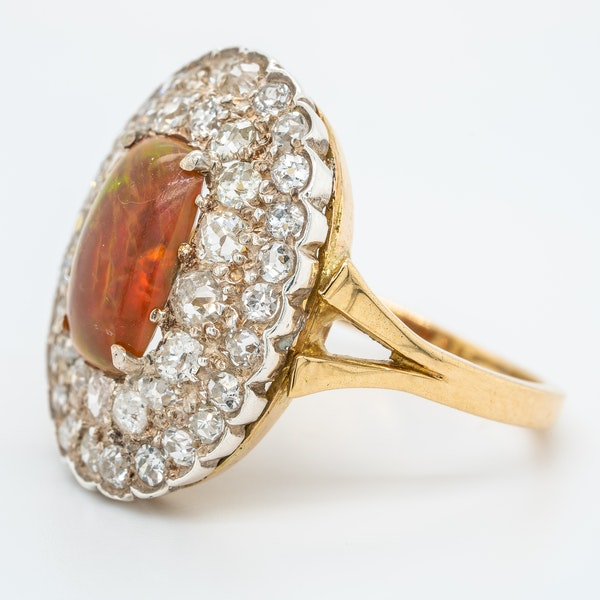 Fancy opal and diamond large antique ring - image 3
