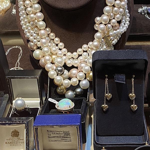 1980's, 18ct White Gold & South Sea Pearl & Diamond stone set Ring, SHAPIRO & Co since1979 - image 5
