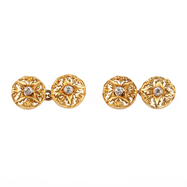 Art Nouveau Cufflinks of Floral Pattern in 18 Carat Gold with Diamond Centre, English circa 1890. - image 1