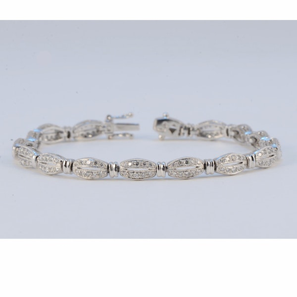 1980's, Platinum and Diamond stone set Bracelet, SHAPIRO & Co since1979 - image 1